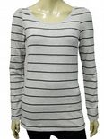 Wholesale Womens Ex Chainstore T-Shirt Top Long Sleeve Grey - Black Stripes